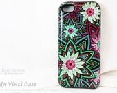 Geometric Floral iPhone 5s Tough Case - Cool Daisy Trippin - Artistic iPhone 5 5s Case With Green and Purple Modern Flower Art