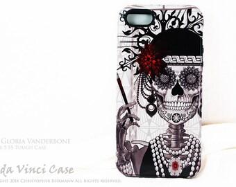 "Skull iPhone 5s - SE Case - Sugar Skull Flapper Girl ""Mrs Gloria Vanderbone"" - Art Deco Black and White Sugar Skull iPhone 5s TOUGH Case"