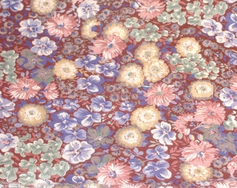 Muted Pinks, Blues, Yellow Posies on Burgundy Soft Cotton Blend Fabric  - 1 yd x 42 Inches Wide- DESTASH
