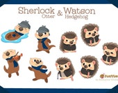 Sherlock Otter and Watson Hedgehog BIG Sticker Pack