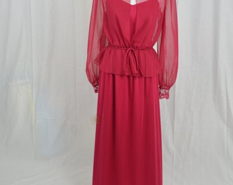Vintage 70's Red Gown