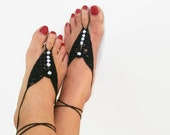 Black Barefoot Sandals with dice bead, Nude shoes, Foot jewelry, Wedding, Victorian Lace, Sexy, Lolita, Yoga, Anklet,gypsy sandals