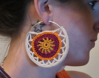 Mandala Hoop Earrings-Crochet Jewelry-Large Hoops-Gypsy Gold/Plum/Orange/Ecru