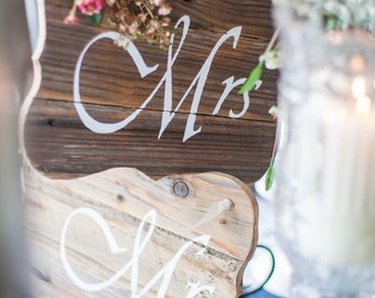 Custom Order Handpainted Wood MR MRS Wedding Chair Sign Set