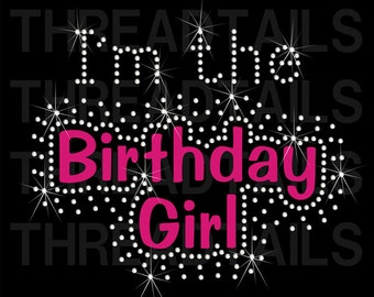 I'm the Birthday Girl Rhinestone Bling T-shirt.  Cute, blingy tee to wear for birthday party, event, or day out.  Ladies, girls gift