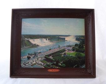 1950's, Print, Niagara Falls, Canada, Plastic Frame, Art, Mid Century, Landscape, Classic Cars, Nu-Dell Plastics, Chicago, Vintage, Blue