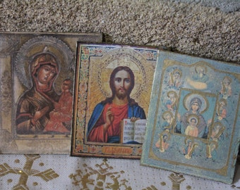 Dollhouse miniature 3rd  tris of ancient russian icons