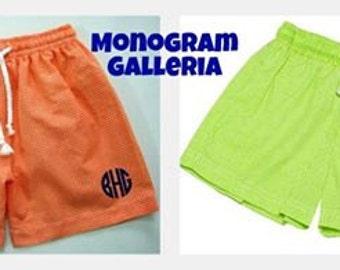 Monogrammed ORANGE Gingham Swim Trunks  Size 12 Months-10
