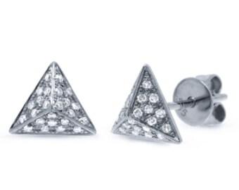 Beautiful 14k Gold Diamond Pave Pyramid Earring.  BXSC55001240