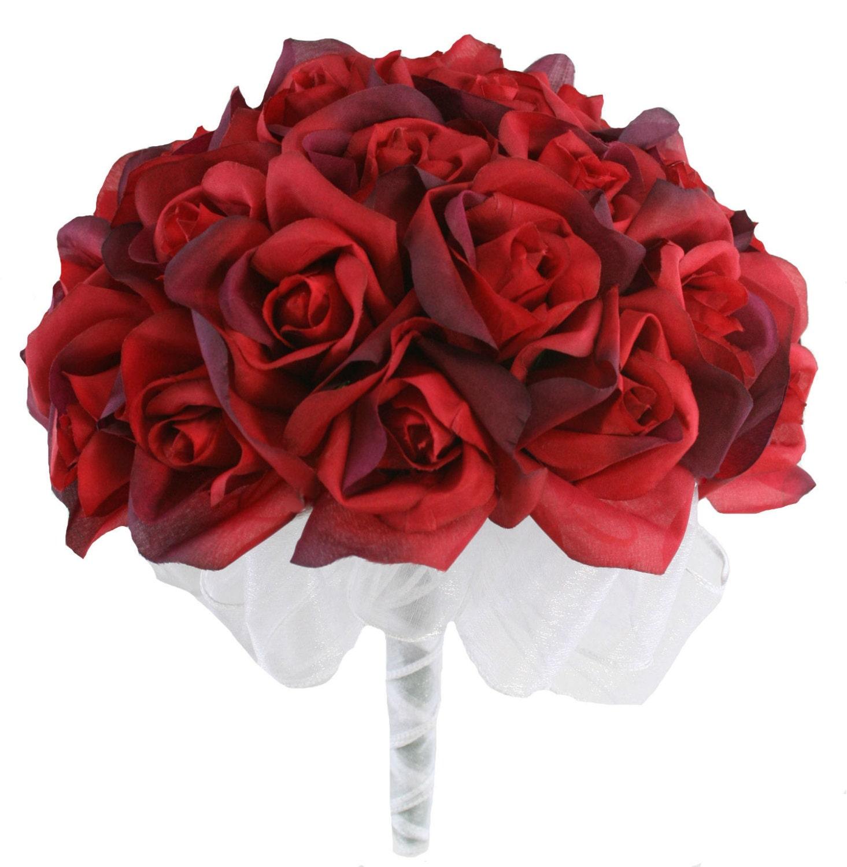 Red silk rose hand tie roses bridal wedding