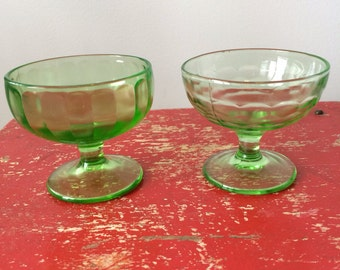 Two Vintage Green Depression Glass Sherbet Cups