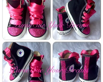 Pink Crystal Rhinestone Custom Converse Shoes - Infant/Toddler/Adult - Pageant Shoes