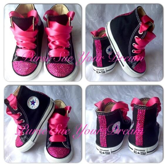 Pink Crystal Rhinestone Custom Converse Shoes