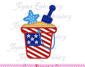 Instant Download 4th of July Sand Pail Applique Machine Embroidery Design NO:1504