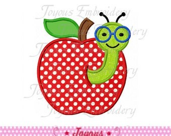 Instant Download Worm With Apple / Back to School Applique Embroidery Design NO:1530