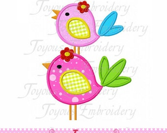 Instant Download Two Birds 01 Applique Embroidery Design NO:1569