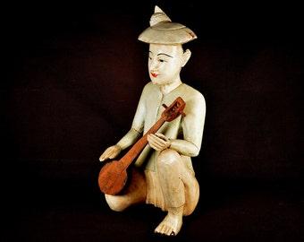 Asian Statue Asian Figure Figurine Statuette Wood Antique