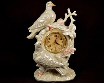 Mantel Clock Ceramic Dove Decor Bird Works