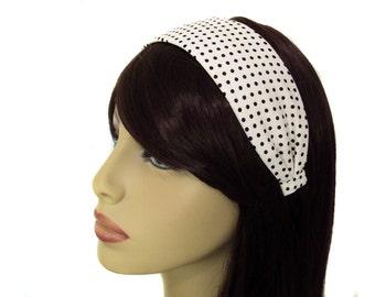 """White Polka Dot Retro 2"""" Wide Headband"""