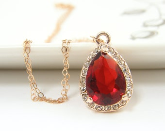 Red Ruby Necklace, Rose Gold Necklace, Red Teardrop Necklace CZ Ruby Red July Birthstone Pendant Jewelry with Rose Gold Chain  RJ1-5