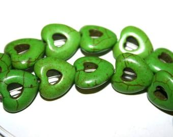 Full Strand of 15 mm Green Gemstone Hollow Heart Beads