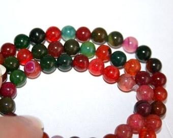 6 mm Multi Color Dragon Vein Agate Semi Precious Gemstone Beads