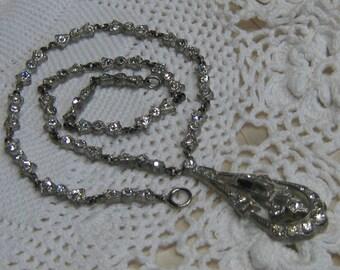 Art Deco Pot & Paste Necklace with Center Pendant Drop
