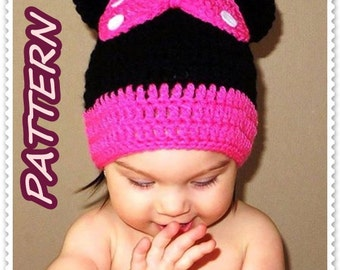 Minnie Mouse crochet hat PATTERN Pdf, crochet hat pattern, girl hat pattern