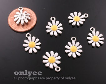 12Pcs -14mmX11mm Rhodium Plated over Brass SunFlower with Enamel Charms Pendant-White(K601S-A)