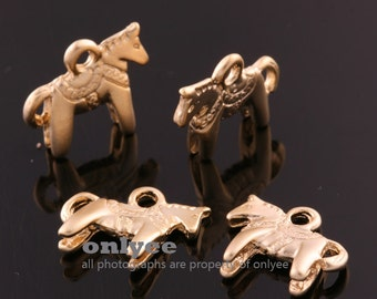 4pcs-13mmX11.5mm Matte Gold plated over Brass Cute Pony Pendants,Charms (K1172G)