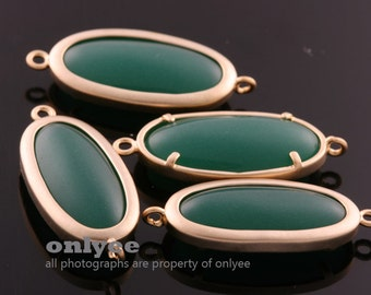2pcs-27mmX11mmMatte Gold plated Brass Framed Oval Glass Jade Connectors-GreenAgate(M344G-A)