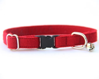 Cat Collar - Dark Red Felt - Adjustable - Optional ID Tag