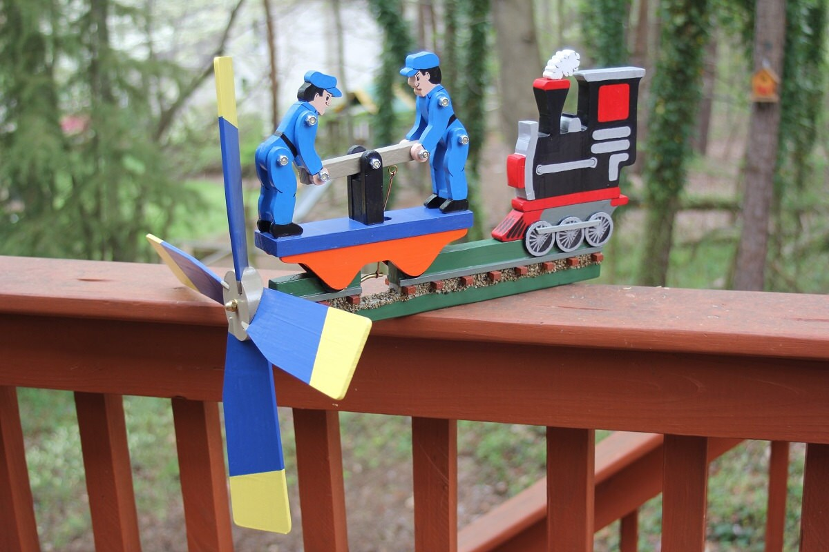 Train Engine and Hand Car Wooden Folk Art Wind Whirligig