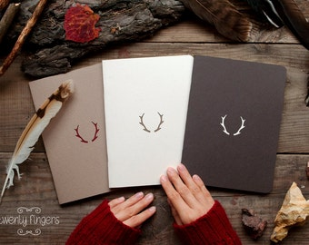 Forest notebook with a carved pattern - Deer horns - set of 3 notebook