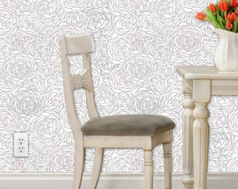 Removable Wallpaper - Blossom Print Gray