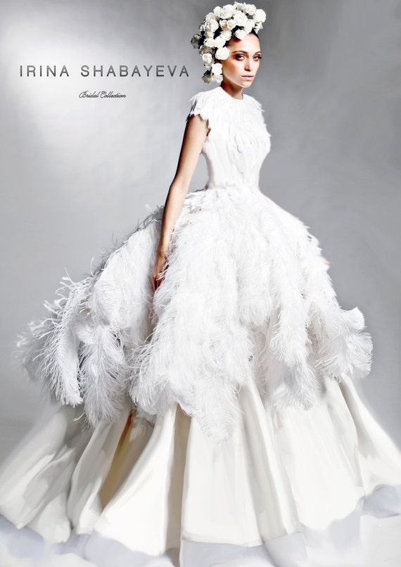 IRINA SHABAYEVA COUTURE Feather Queen Elizabeth Ball Gown style dress.