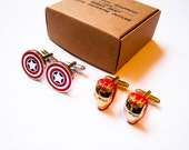 Captain America and Iron man 2 pairs of Cuff Links  - stainless steel