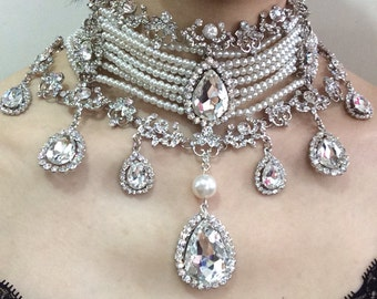 Teardrop neckalce, wedding jewelry, bridal necklace, rhinestone necklace, bridal jewelry, wedding bridal, pearls necklace, prom statement