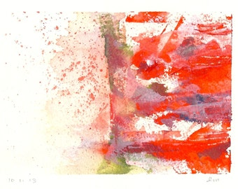 Contemporary Watercolour - Bohemian Painting - Original Watercolour - Texture - Orange - Red