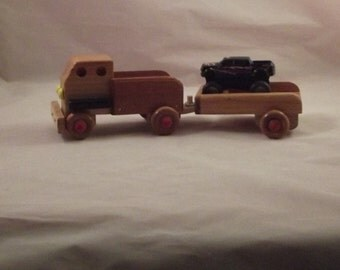 WOODEN TRUCK  Towing TRAILER with a 4 Wheeler on Heading to the Fun Places. 4  Wheeler included