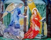 Silk Original batik handpainted  painting Annunciation Christian Religious painting  motives classic engraving .