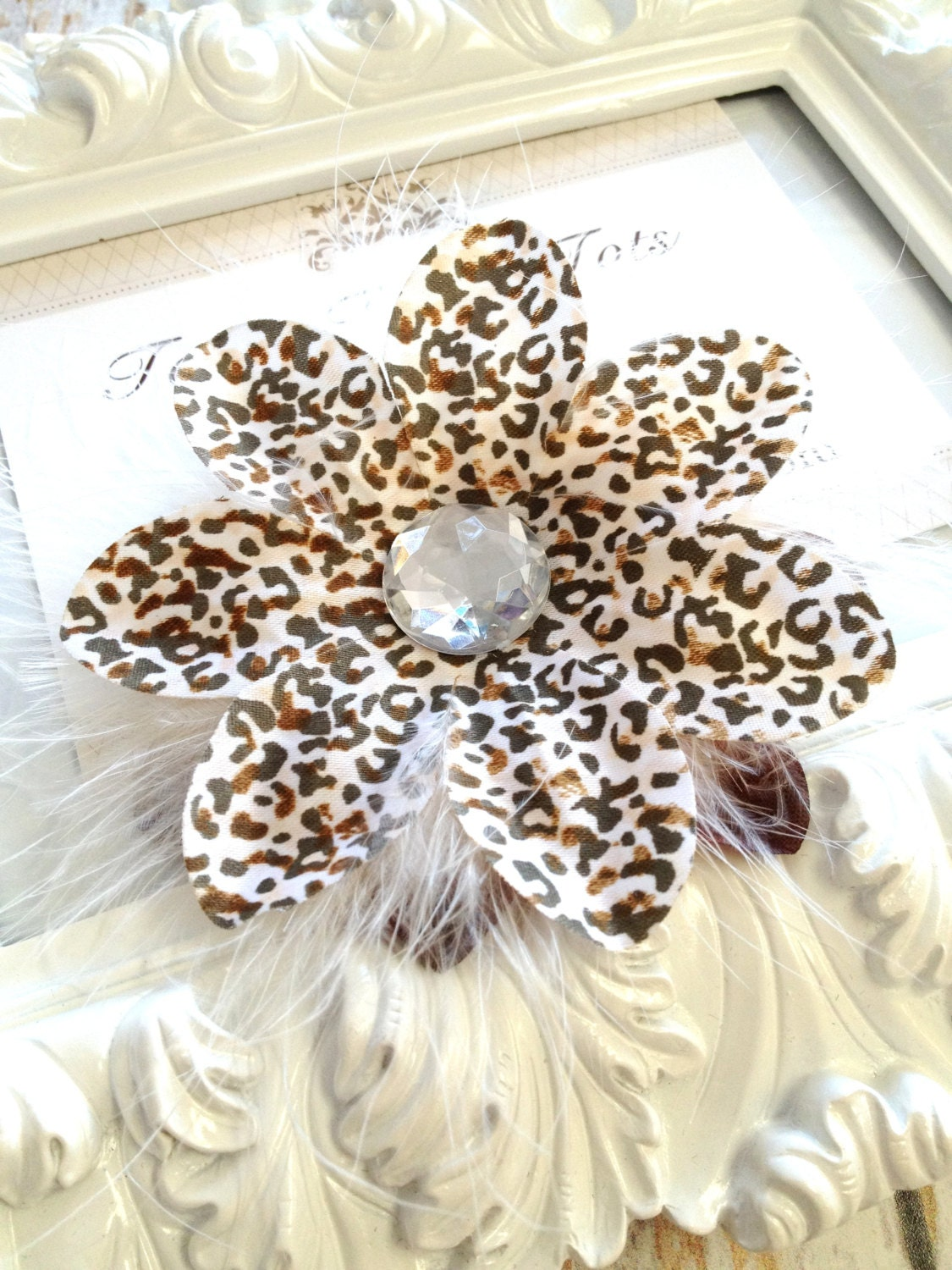 Large Leopard Print Silk Lily Flower With White Feather Puff On
