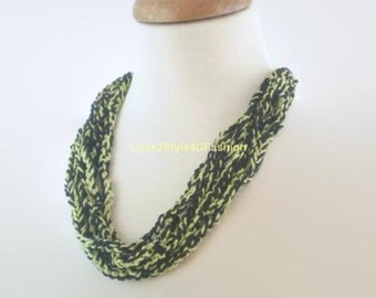 Green Necklace Fashion Statement Necklace Handmade Fashion Jewelry Necklace Cascade Ladder Necklace Fiber Art Made in USA