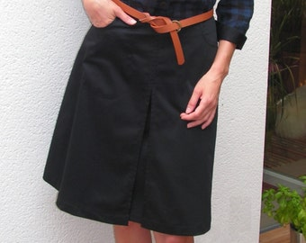 Black skirt cotter satin cotton / 2 pockets.10114
