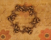 Elegant Round Oxidized Brass Framework Piece, 51mm  Amazing Detail. Ornate Leaves Stamping