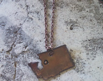 Recycled Copper Washington Rustic State Necklace hand stamped heart metal necklace