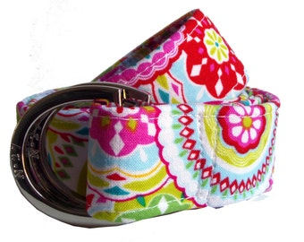 Carnival Fabric Belt: Mulitcolor High Quality D-Ring Belt