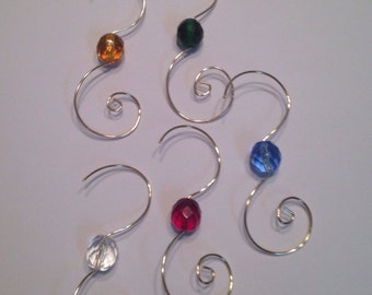 25 Silver Wire Ornament Hooks Hangers with10mm colored glass Czech beads