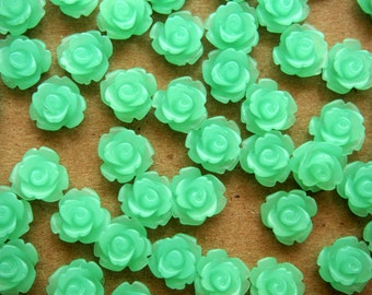 SALE - 30 pc. Frosted Mint Green Rose Cabochon 10mm | RES-391