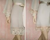 WOODSMOKE. 4 elegant custom lace trimmed bridesmaids chiffon robes in a knee length. Dressing gowns. Bridesmaids robes and bridal robes.